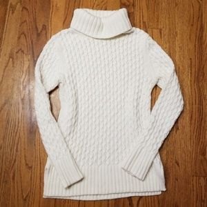 J. CREW Ivory Cable Knit Turtle Neck Sweater
